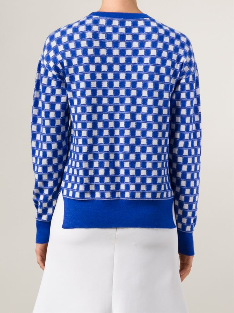 Novis Square Pattern Intarsia Knit Sweater in Blue Lyst