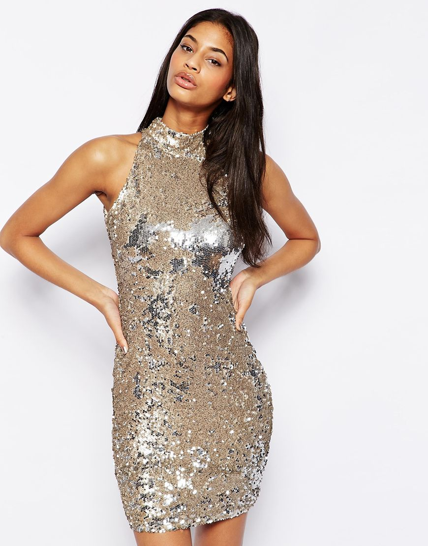 Tfnc London Sequin Dress With High Neck In Metallic Lyst