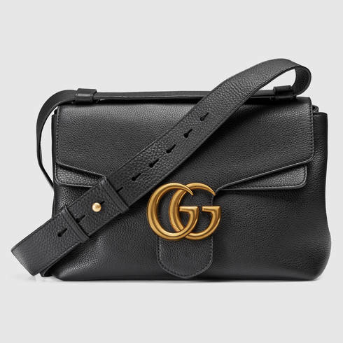 d356f481e721 Gucci Gg Marmont Leather Shoulder Bag in Black - Lyst