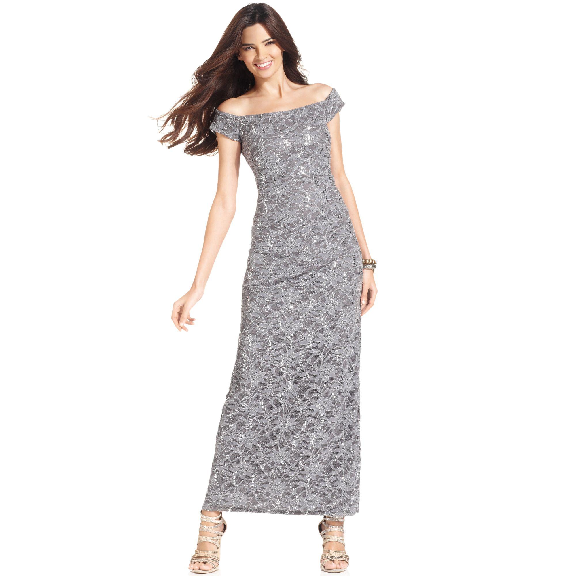 Lyst - Alex Evenings Offtheshoulder Sequin Lace Evening Gown in Metallic