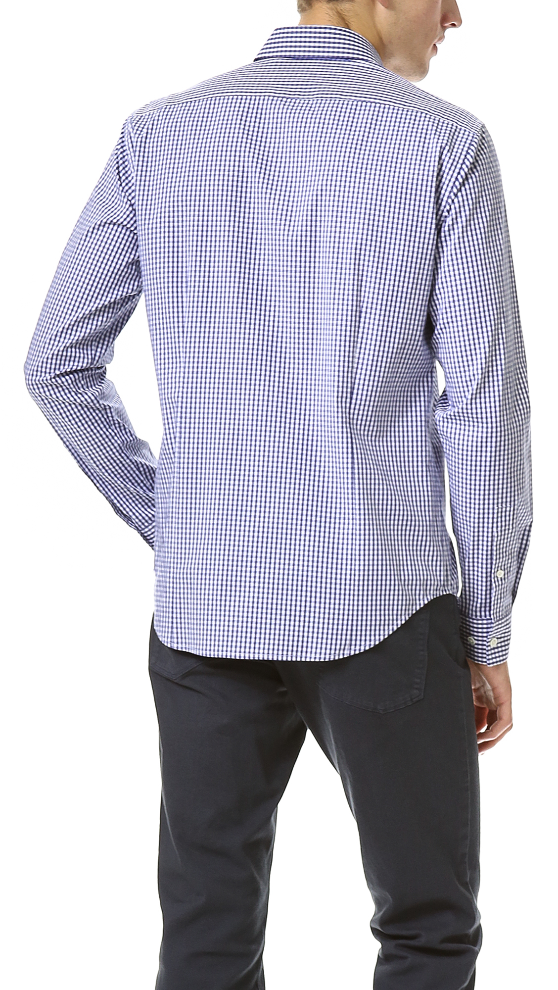 Theory sylvain gingham dress shirt in blue for men lyst for Mens gingham dress shirt