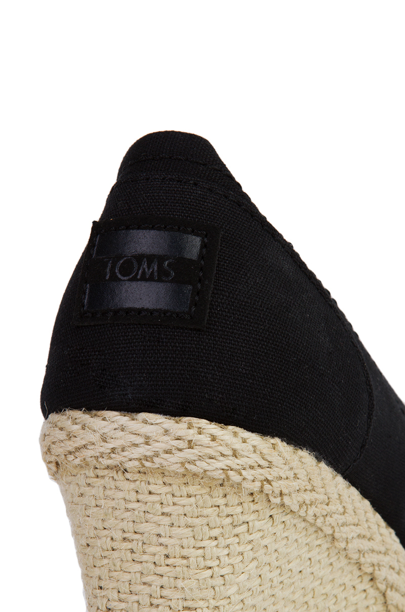 Toms Black Canvas Peep Toe Wedge Sandals Lyst