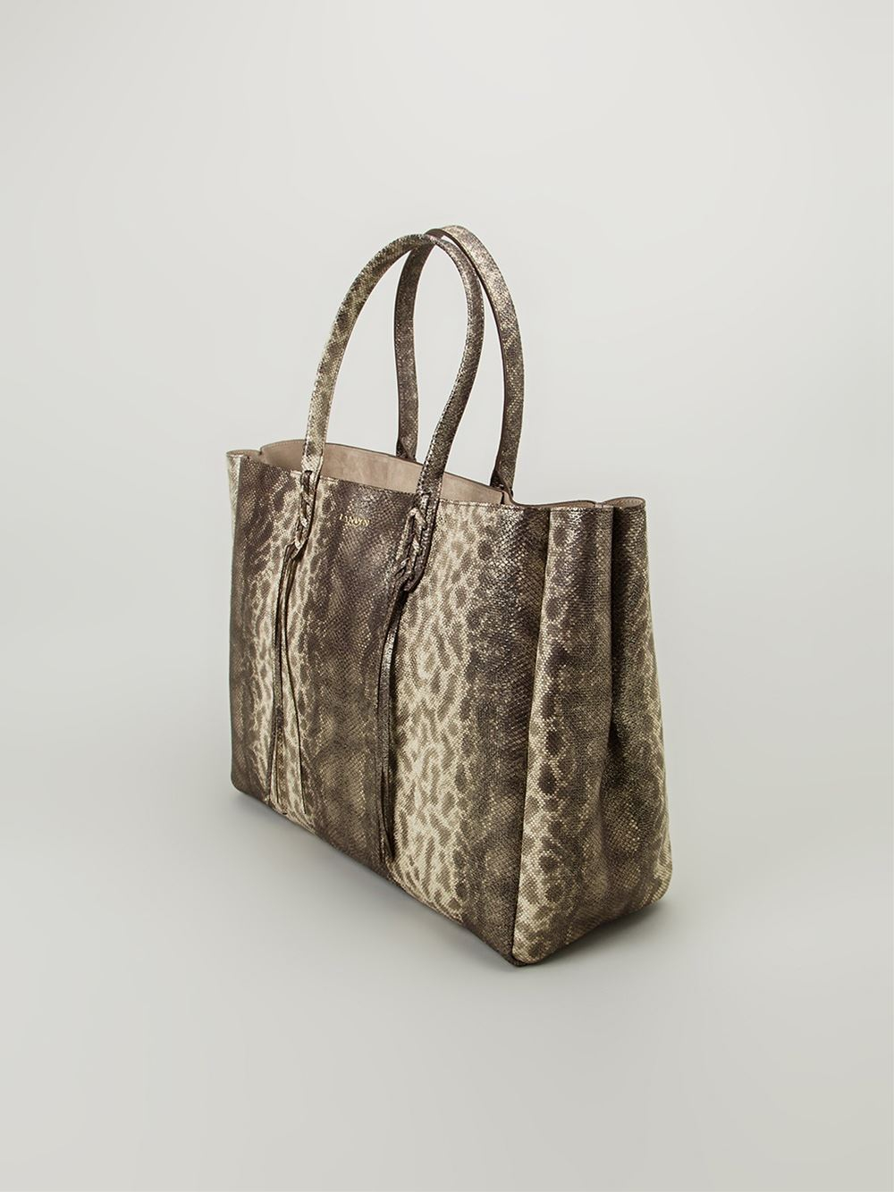 Lanvin Leather and Sheepskin Shopper Tote in Metallic (Brown)