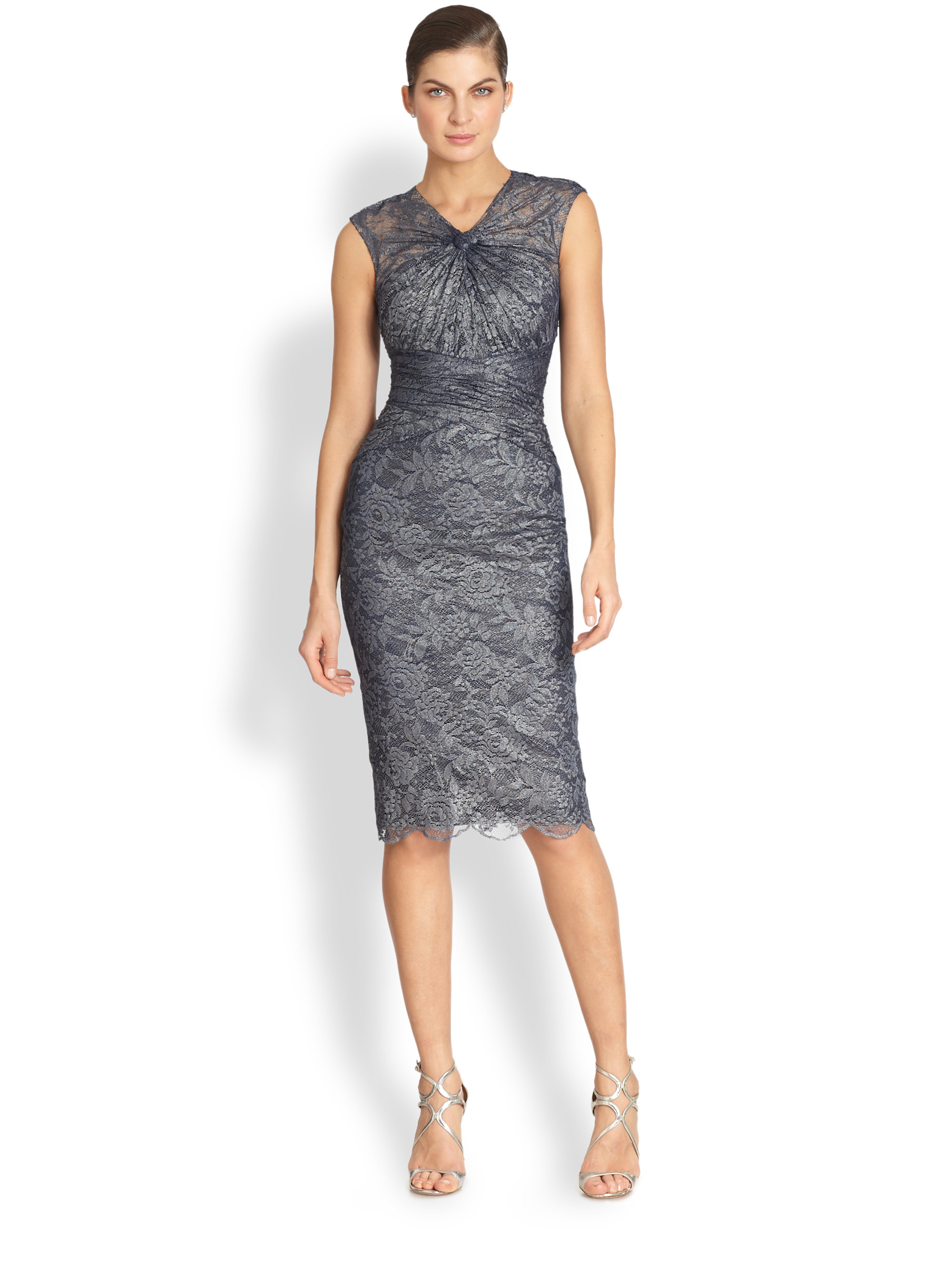 Badgley mischka Gathered Lace Cocktail Dress in Blue | Lyst