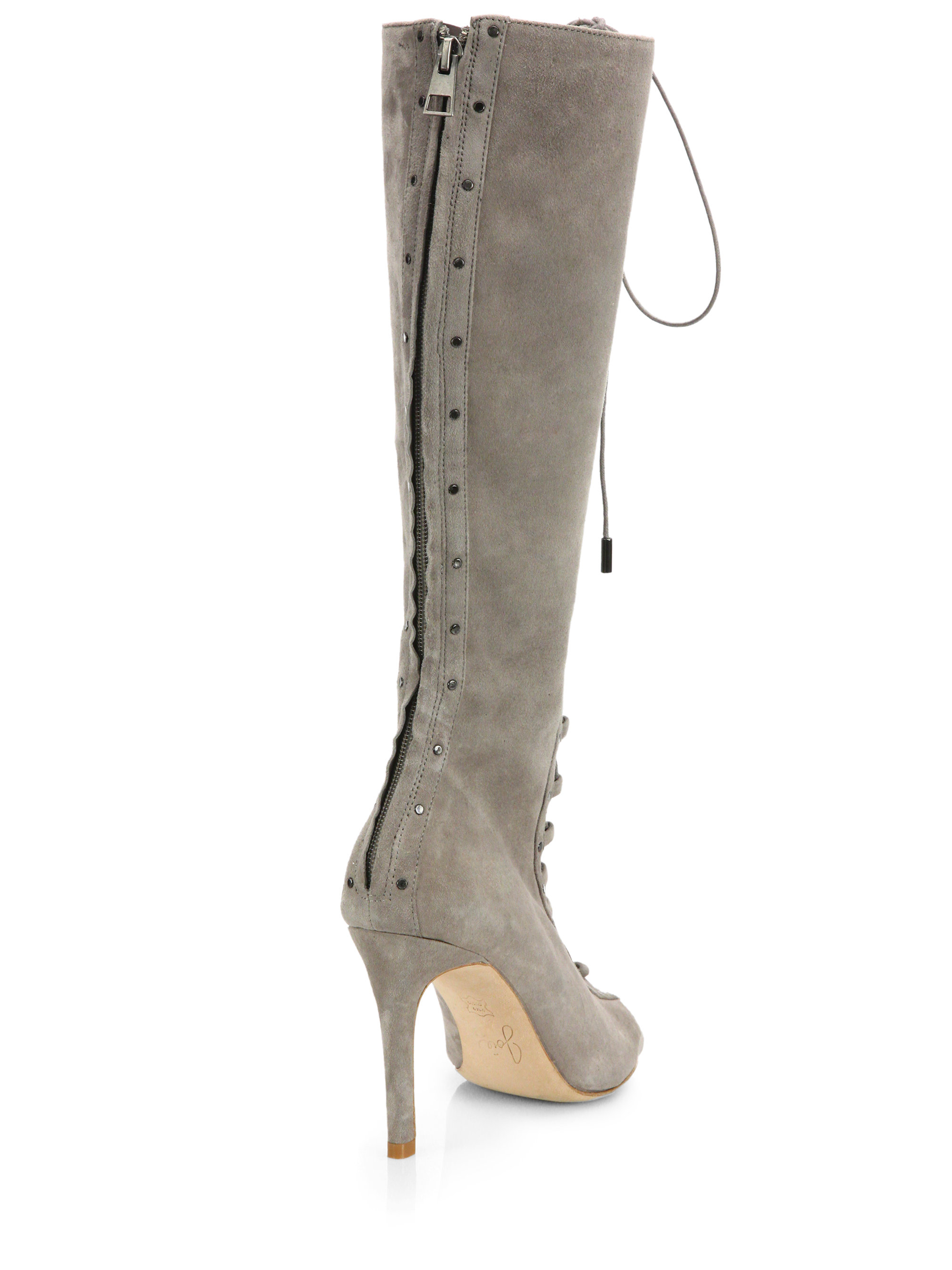 Joie Aubrey Suede Lace Up Peep Toe Knee Boots In Gray Lyst