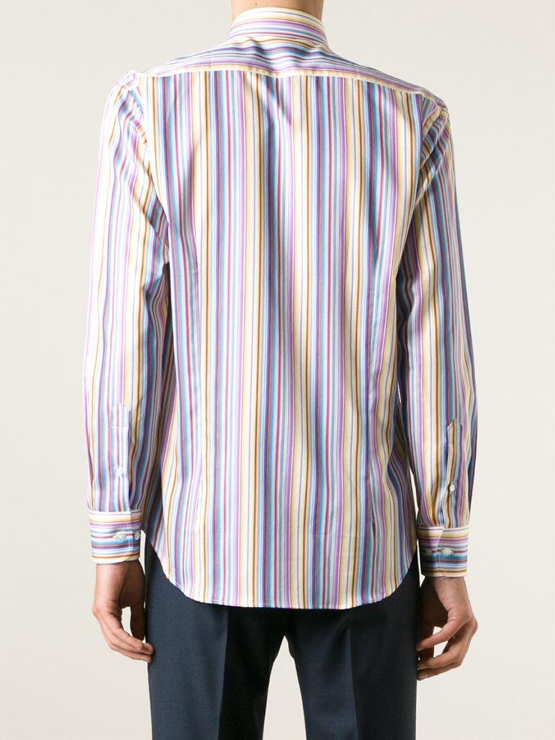 Lyst etro striped button down shirt for men for Striped button down shirts for men