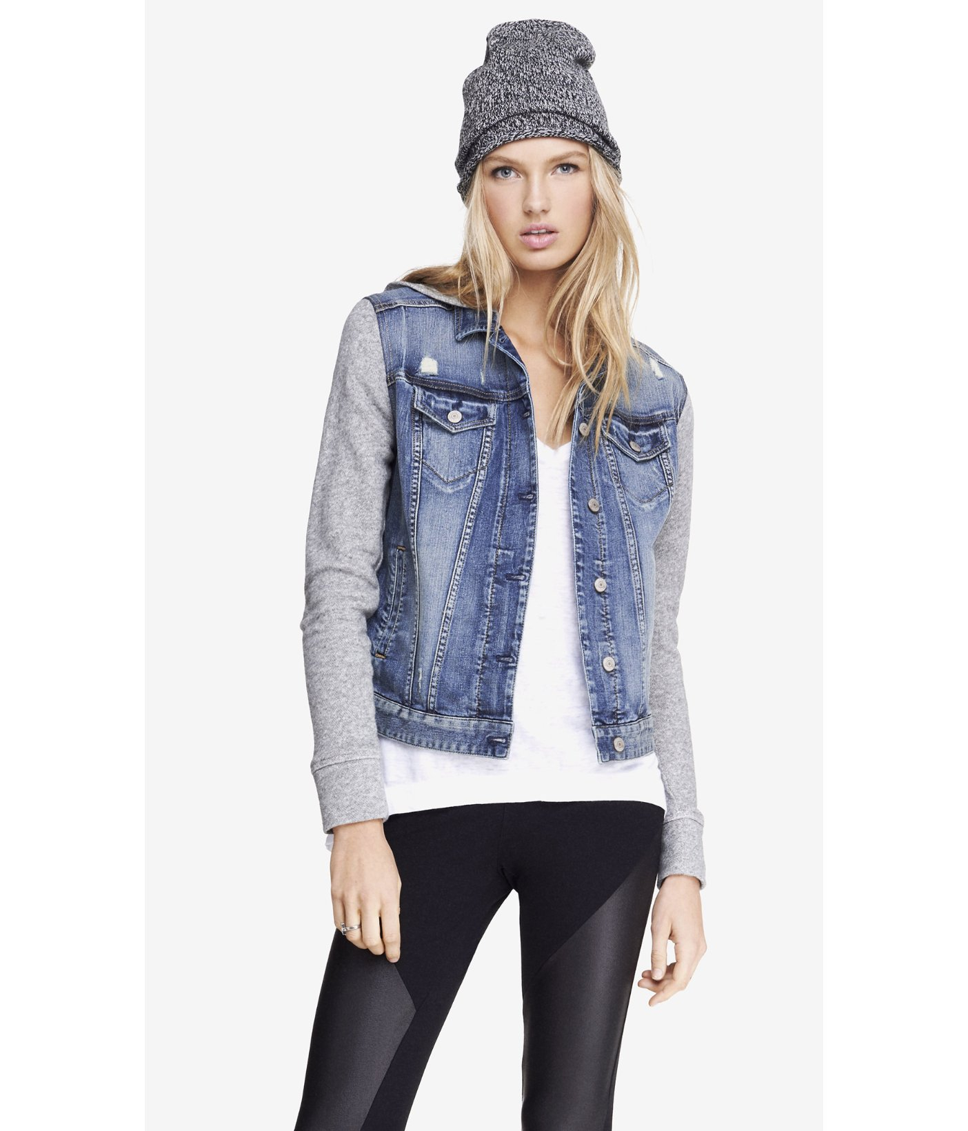 Express Sweatshirt Sleeve Hooded Denim Jacket in Blue | Lyst