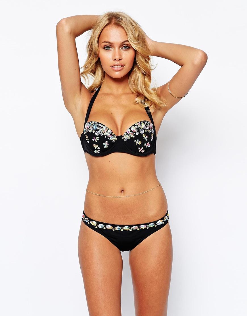 Asos gem embellished 50s halter bikini top in black lyst