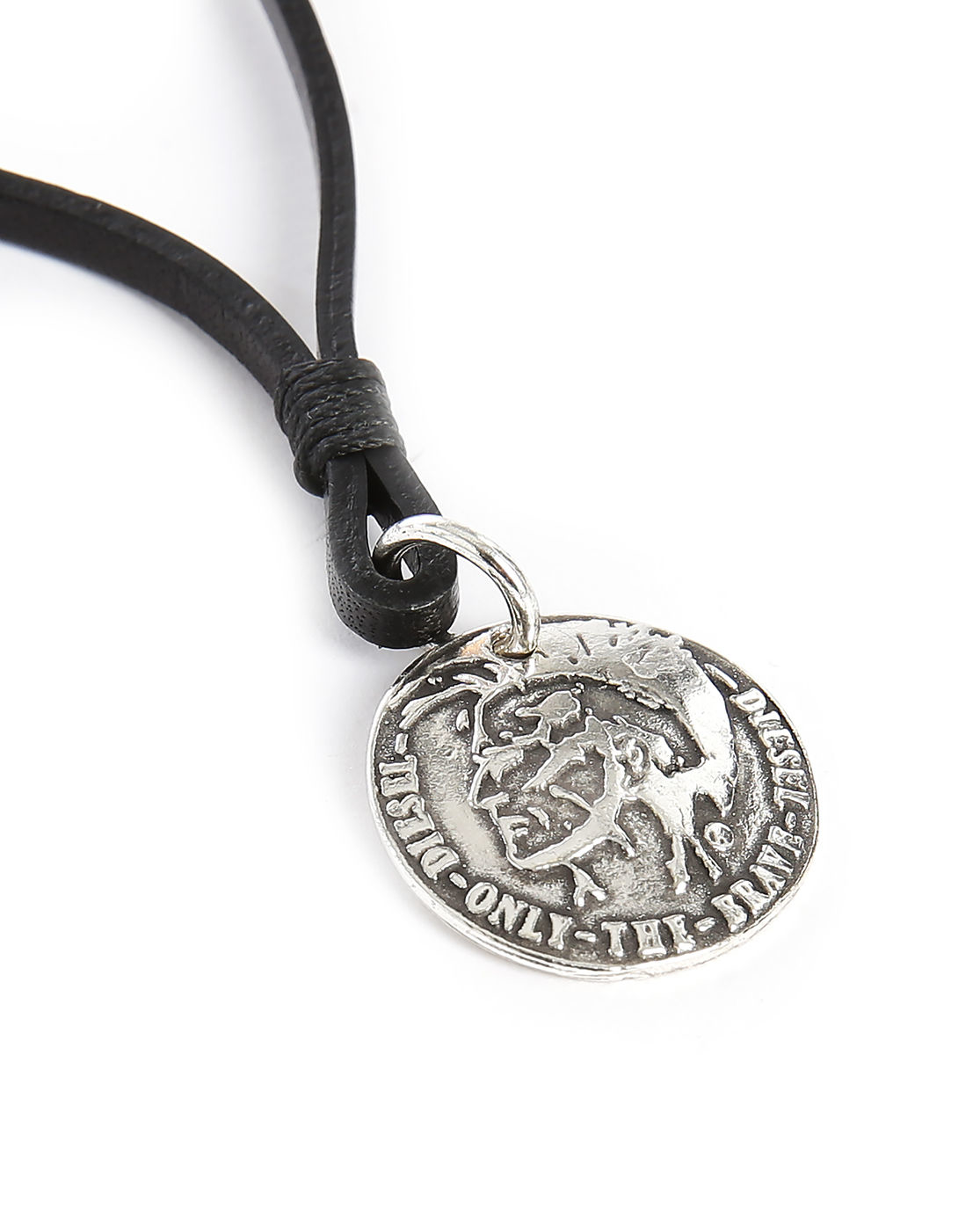 diesel atal indian leather silver medallion necklace