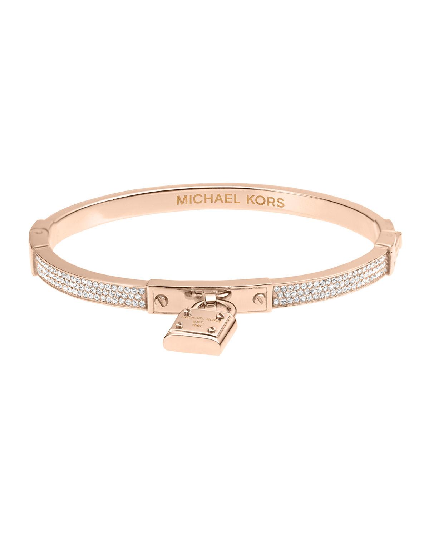 michael kors pave hinge padlock bangle in pink rose gold. Black Bedroom Furniture Sets. Home Design Ideas