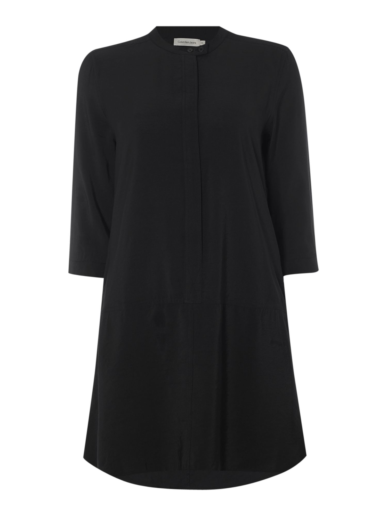 Calvin klein rille long sleeve shirt dress in meteorite in for Calvin klein dress shirts sale