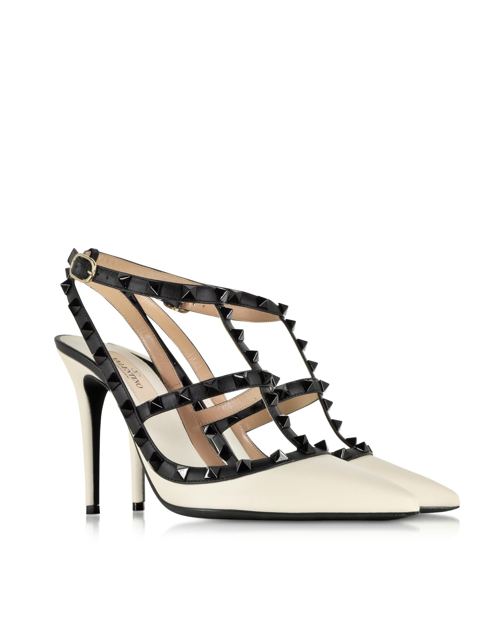 valentino rockstud light ivory black leather ankle