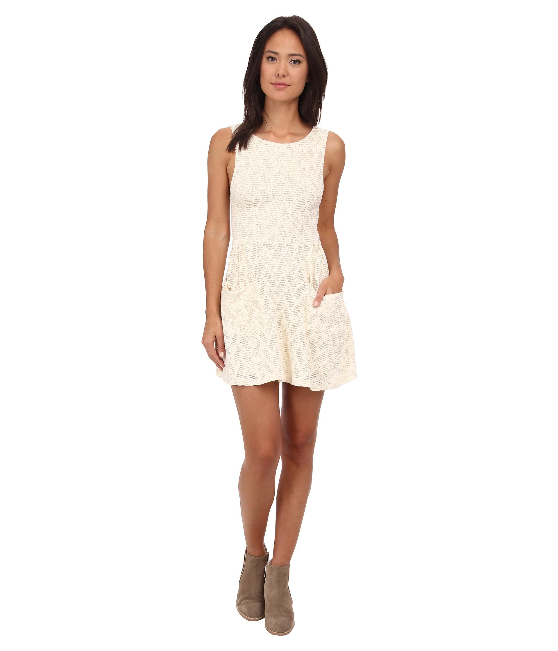 4e65f51da1e4 Lyst - Free People Textured Lace Poppy Mini Knit Dress in Natural
