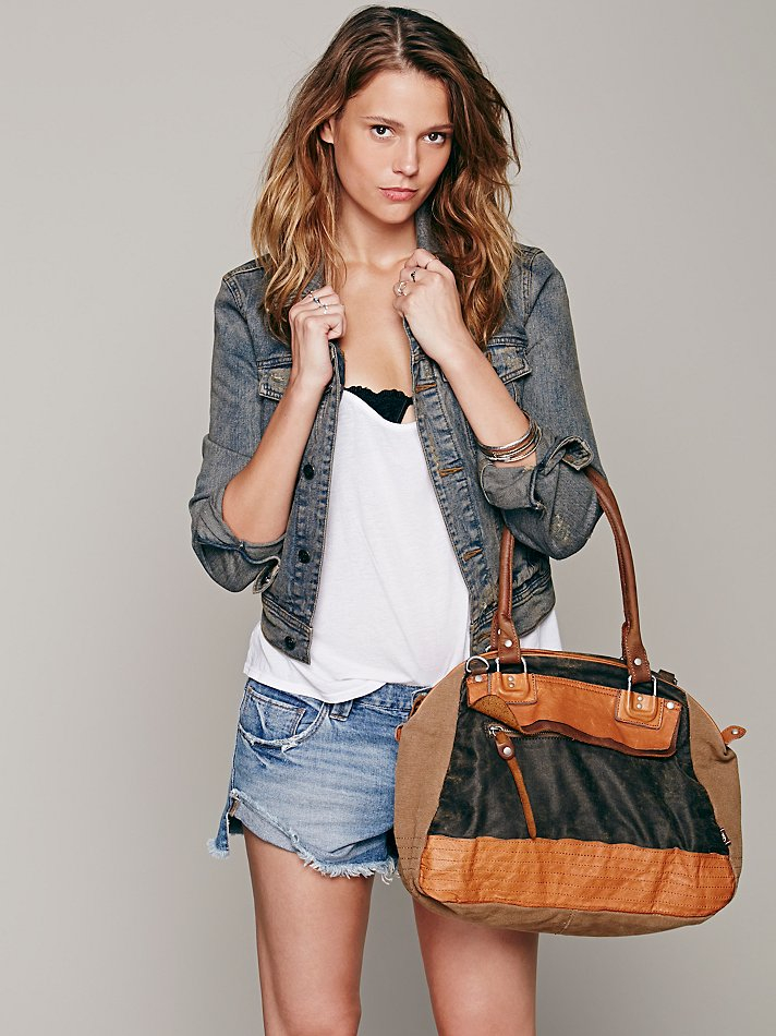 Free People Mixed Media Tote in Camel / Grey (Grey)