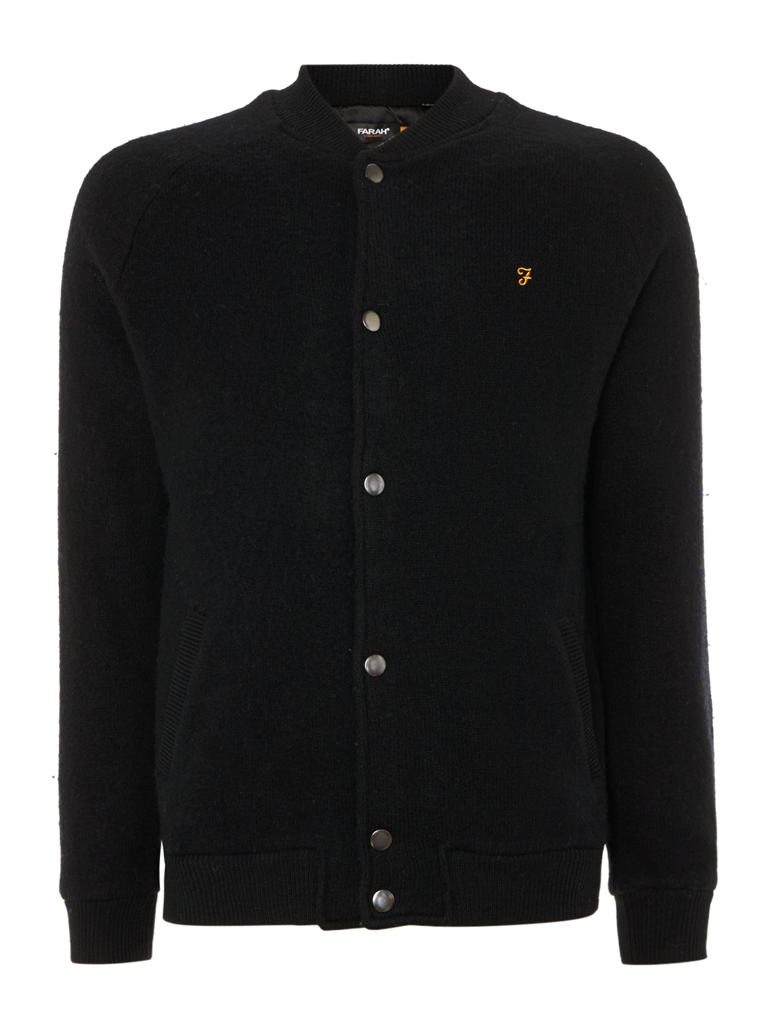 Farah Wool Bomber Jacket In Black For Men Lyst