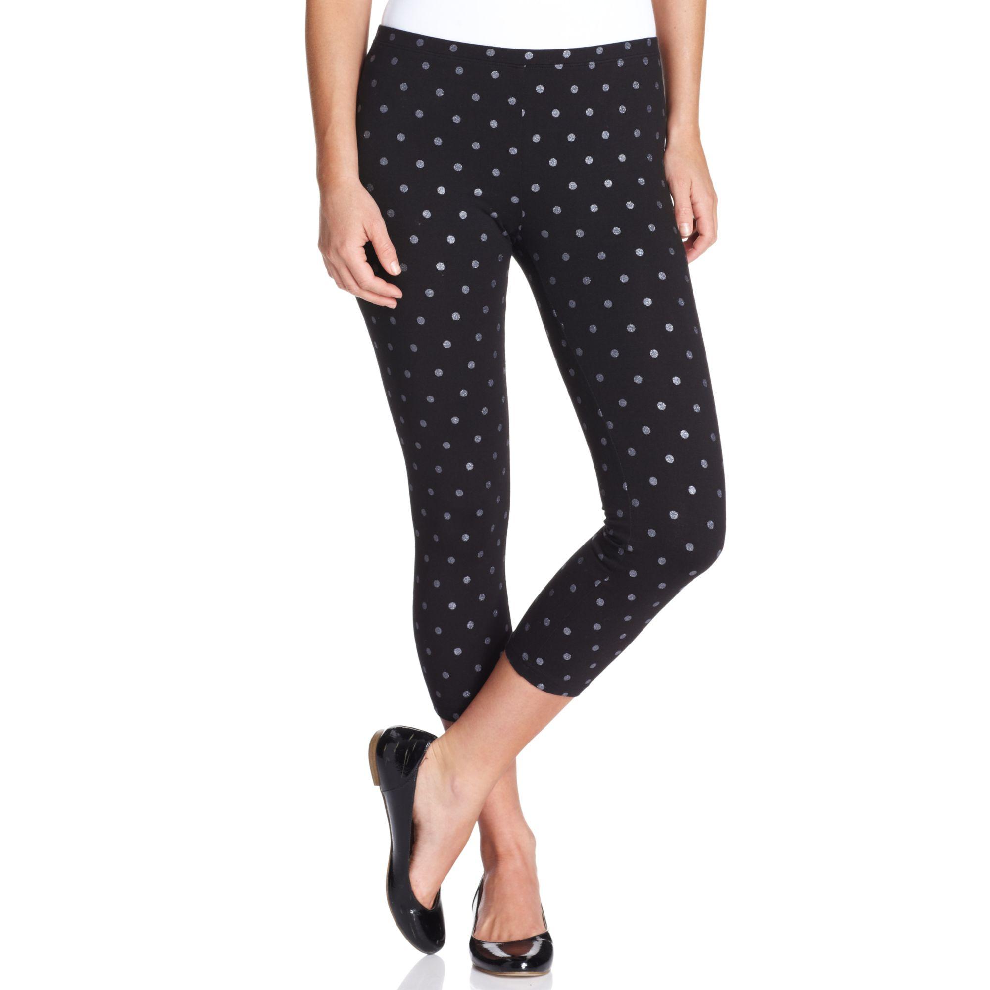 0a4e735c286e Lyst - Hue Glitter Dot Cotton Capri Leggings in Black