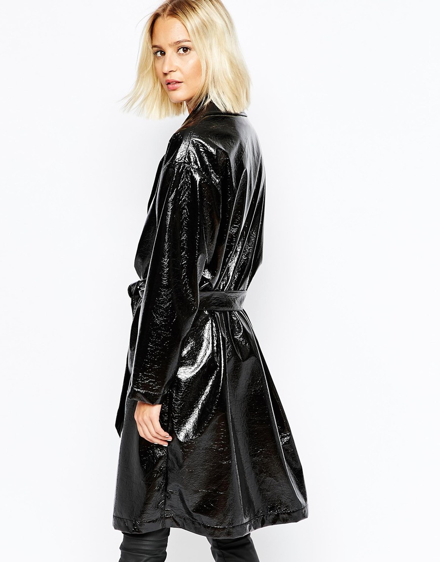 Elected Scarlet Shiny Belted Trench Coat