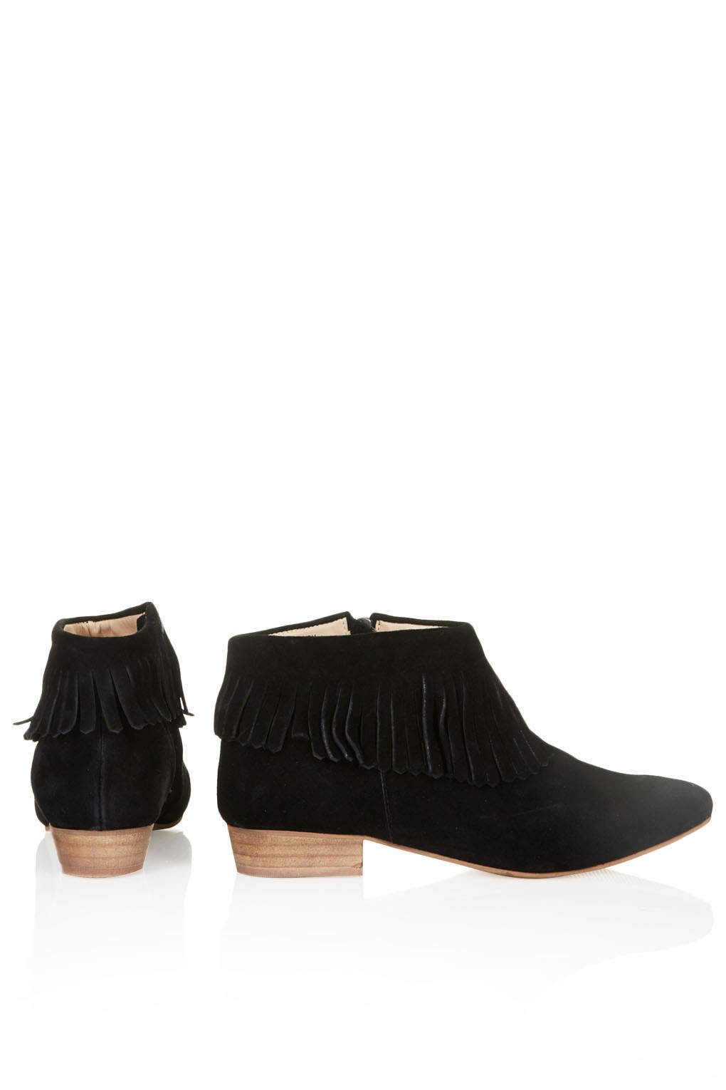 Topshop Womens Blinked Fringed Ankle Boots Black in Black | Lyst