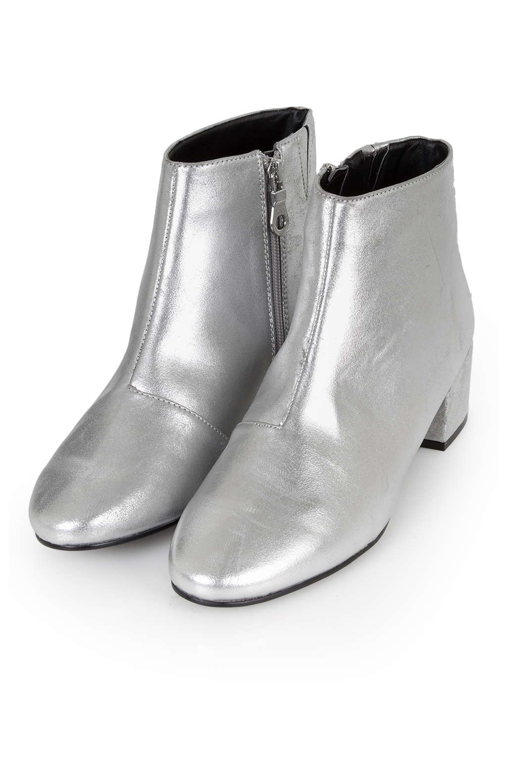 Lyst Topshop Betty Silver Boots In Metallic