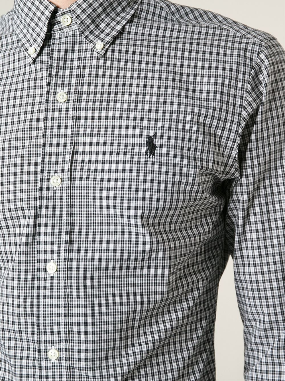 Polo ralph lauren checked button down shirt in black for for Black and white checker shirt
