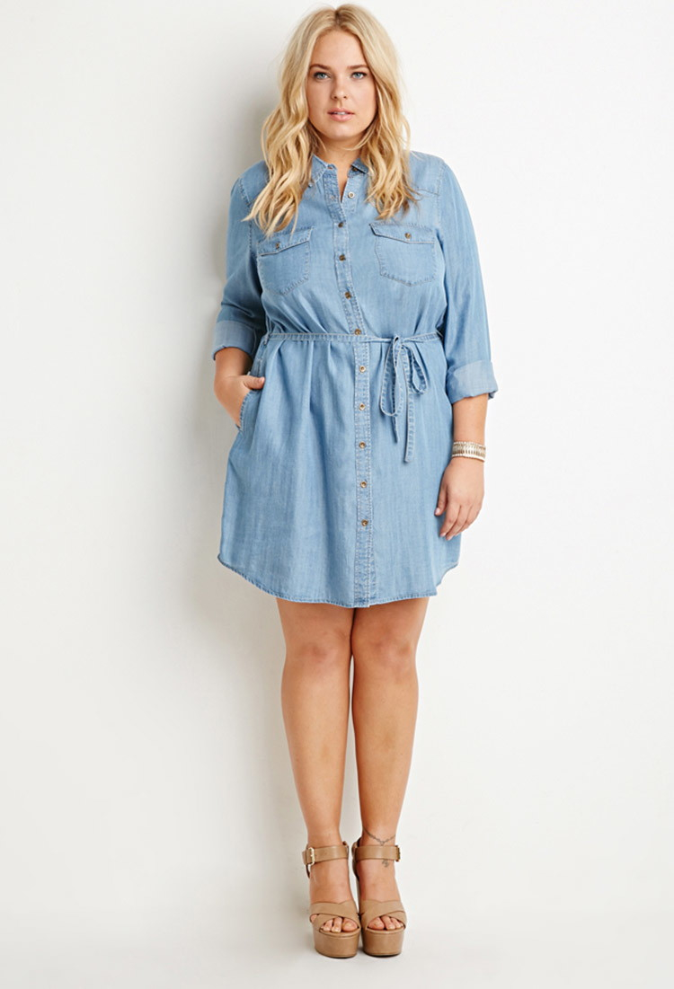 Lyst Forever 21 Plus Size Belted Chambray Shirt Dress Youve Been