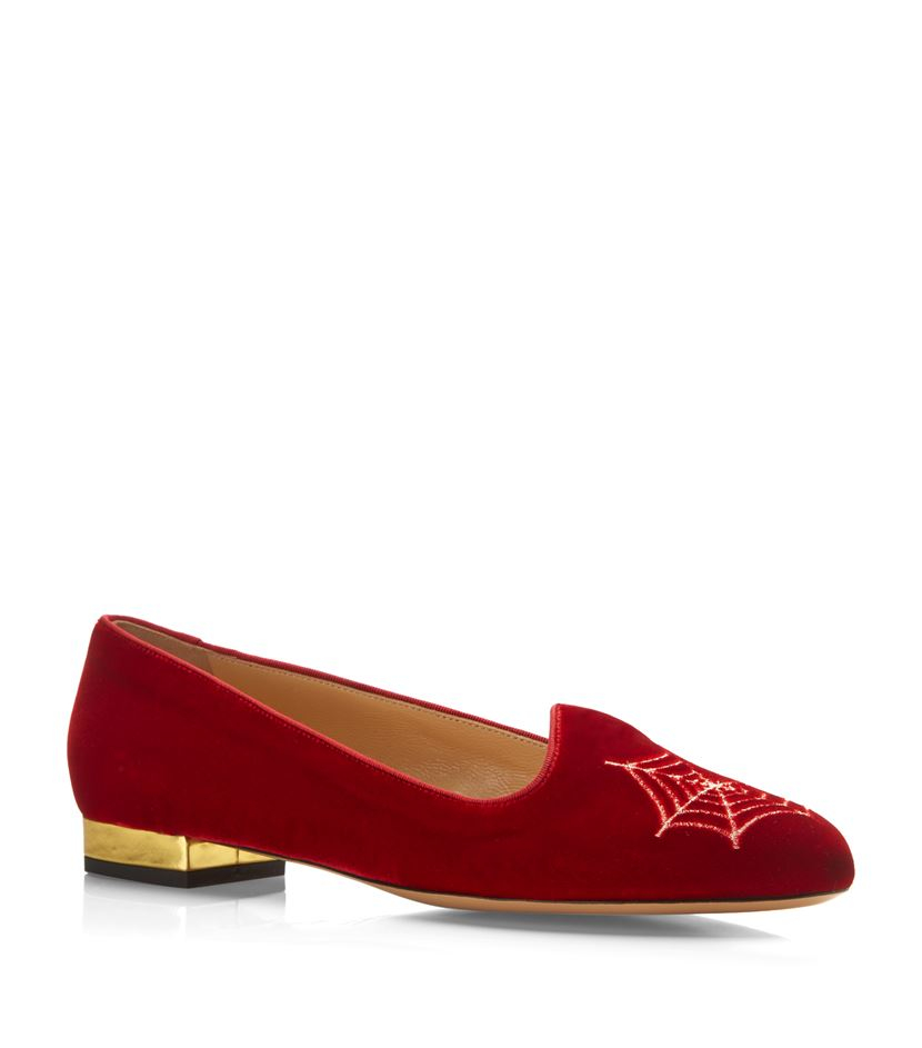 charlotte olympia charlotte s web velvet flat in red ruby lyst. Black Bedroom Furniture Sets. Home Design Ideas