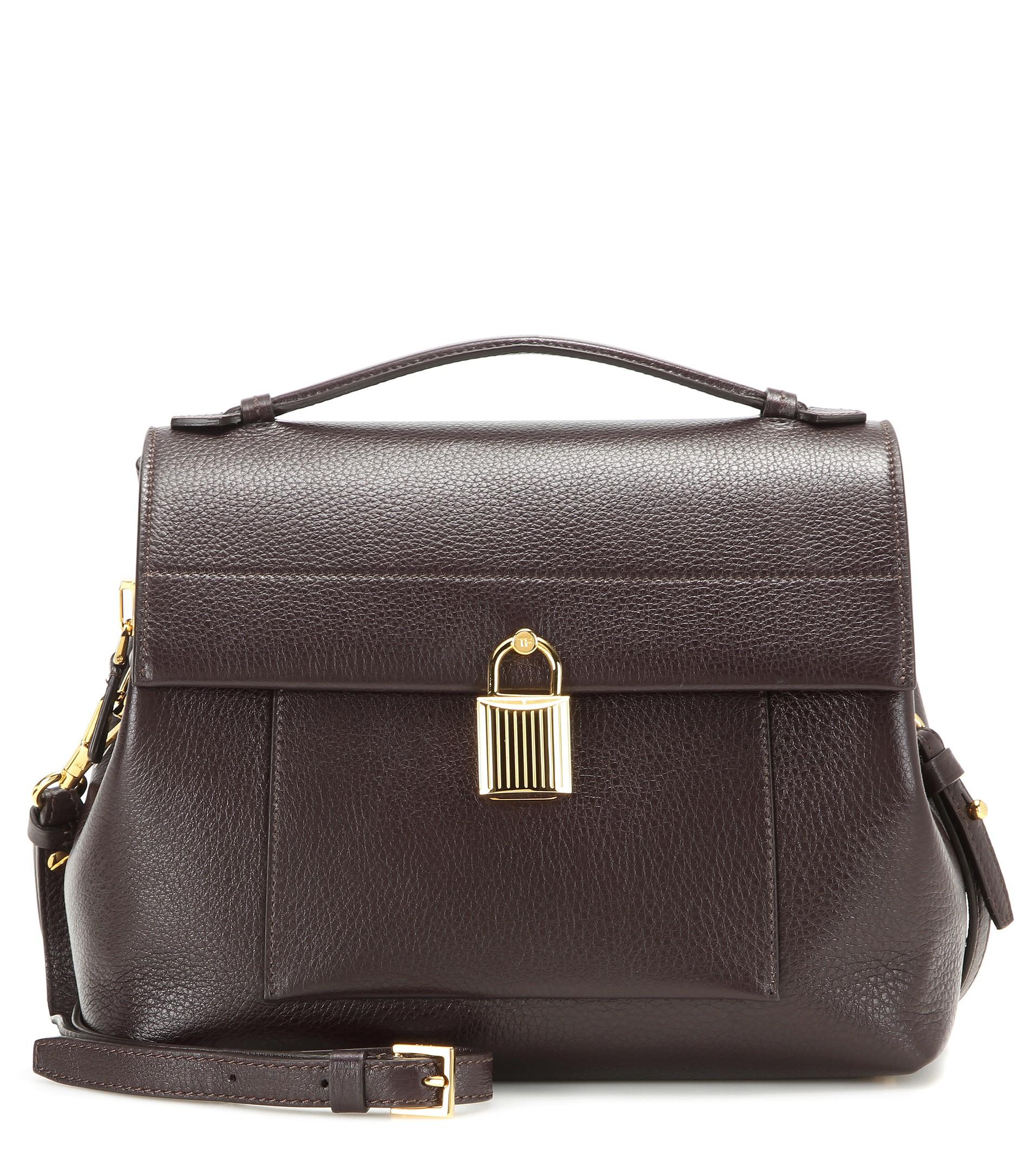 lyst tom ford padlock trapeze leather shoulder bag in brown. Black Bedroom Furniture Sets. Home Design Ideas