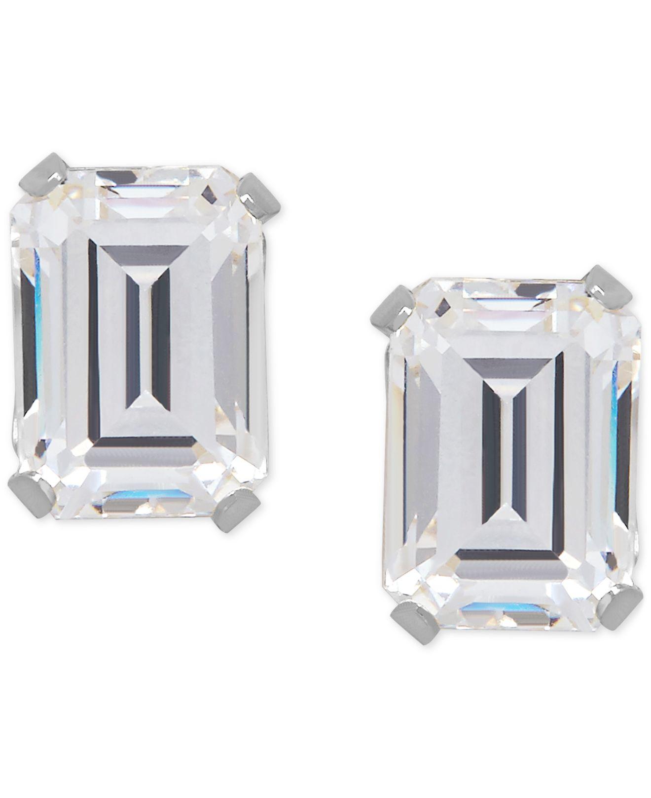 macy s cubic zirconia emerald cut stud earrings in 14k