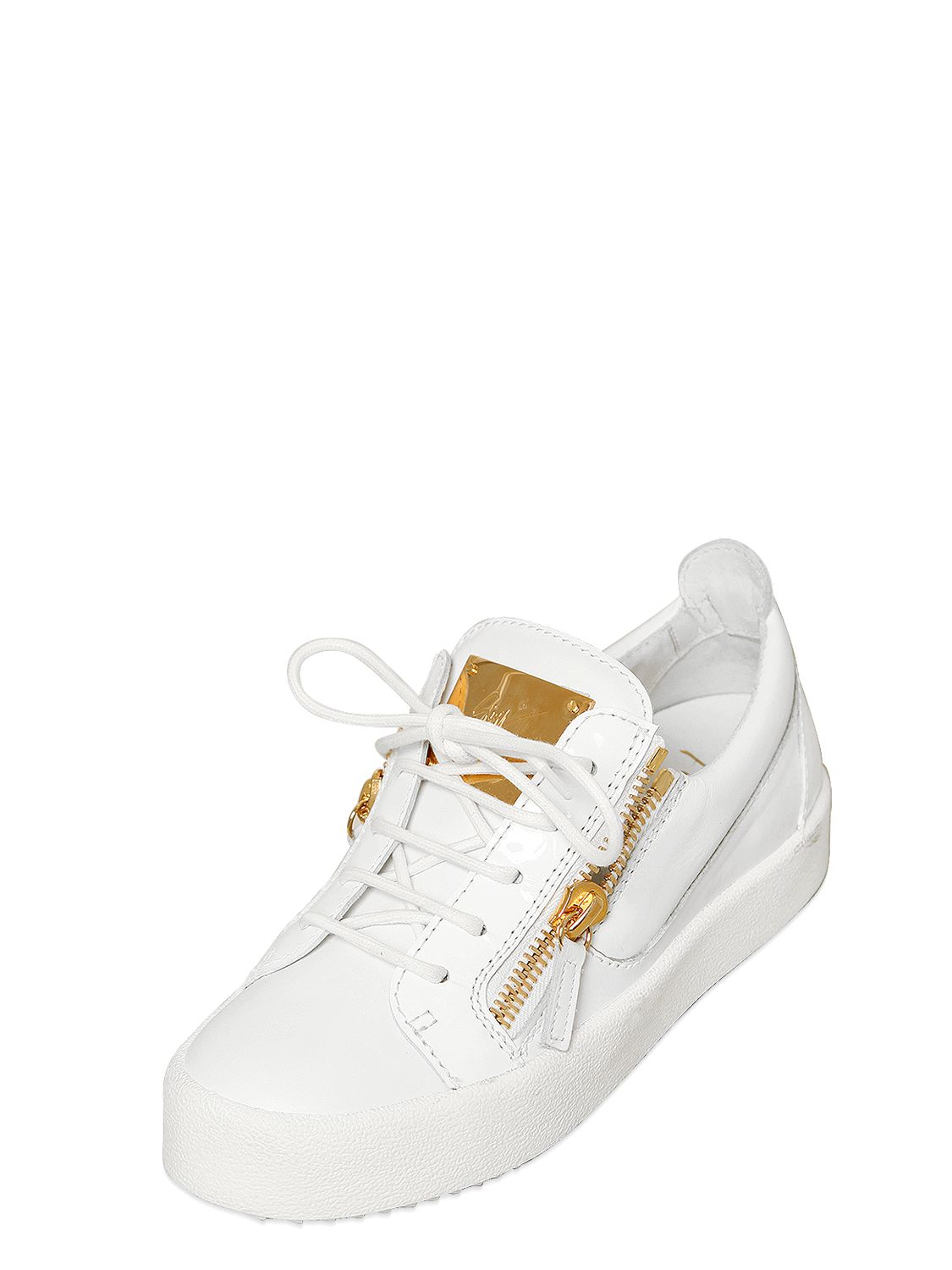 giuseppe zanotti 20mm leather sneakers in white lyst