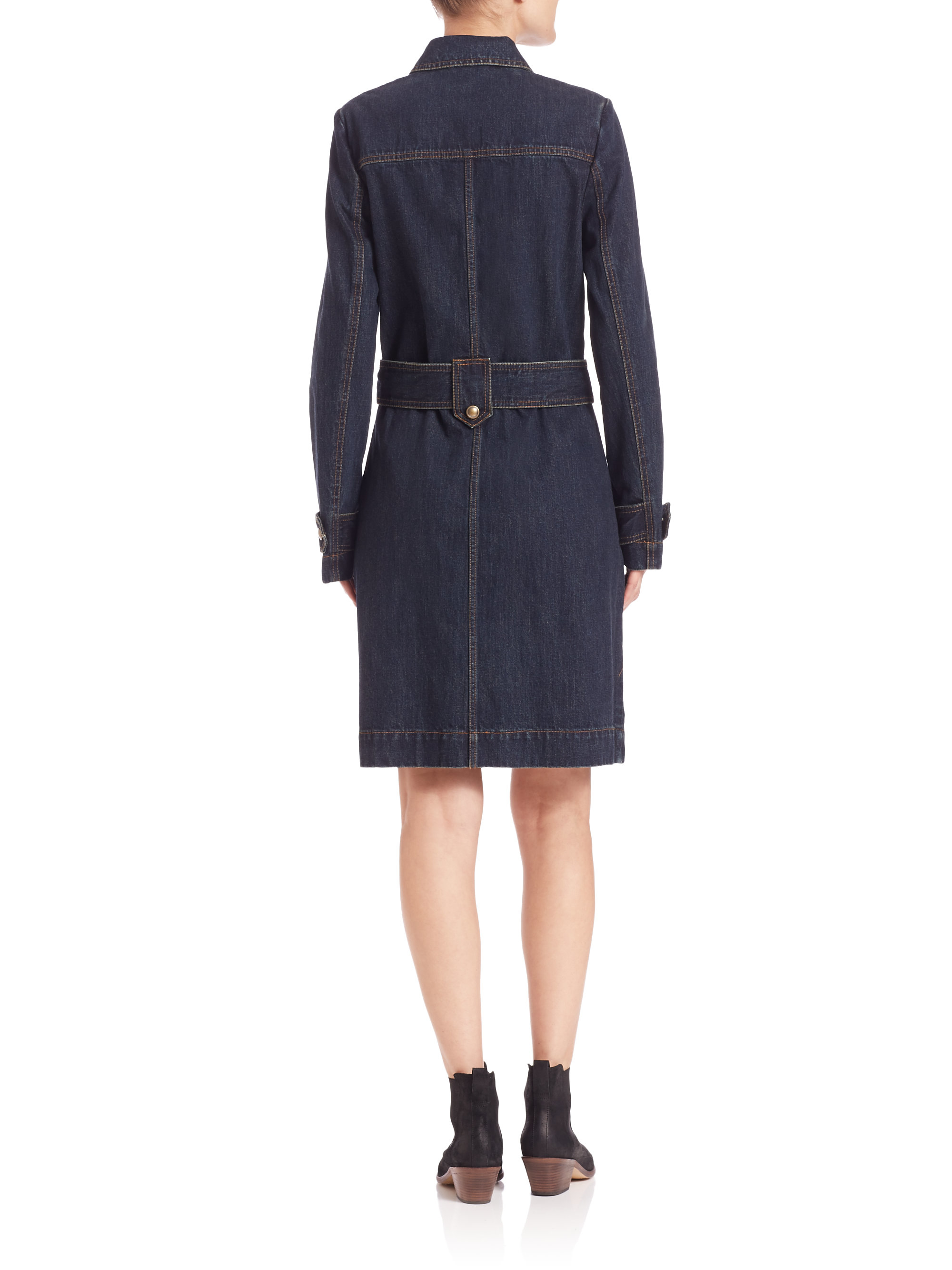 free belted denim trench dress in blue lyst