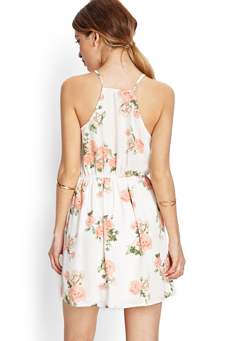 Forever 21 Blooming Floral Fit Flare Dress In White Lyst