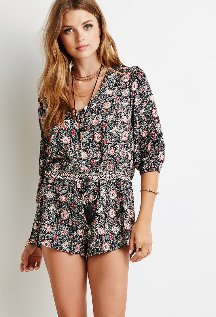 d4f85d98b1b7 Forever 21 Drawstring Floral Print Romper Youu0026 39 ve Been Added To The  Waitlist