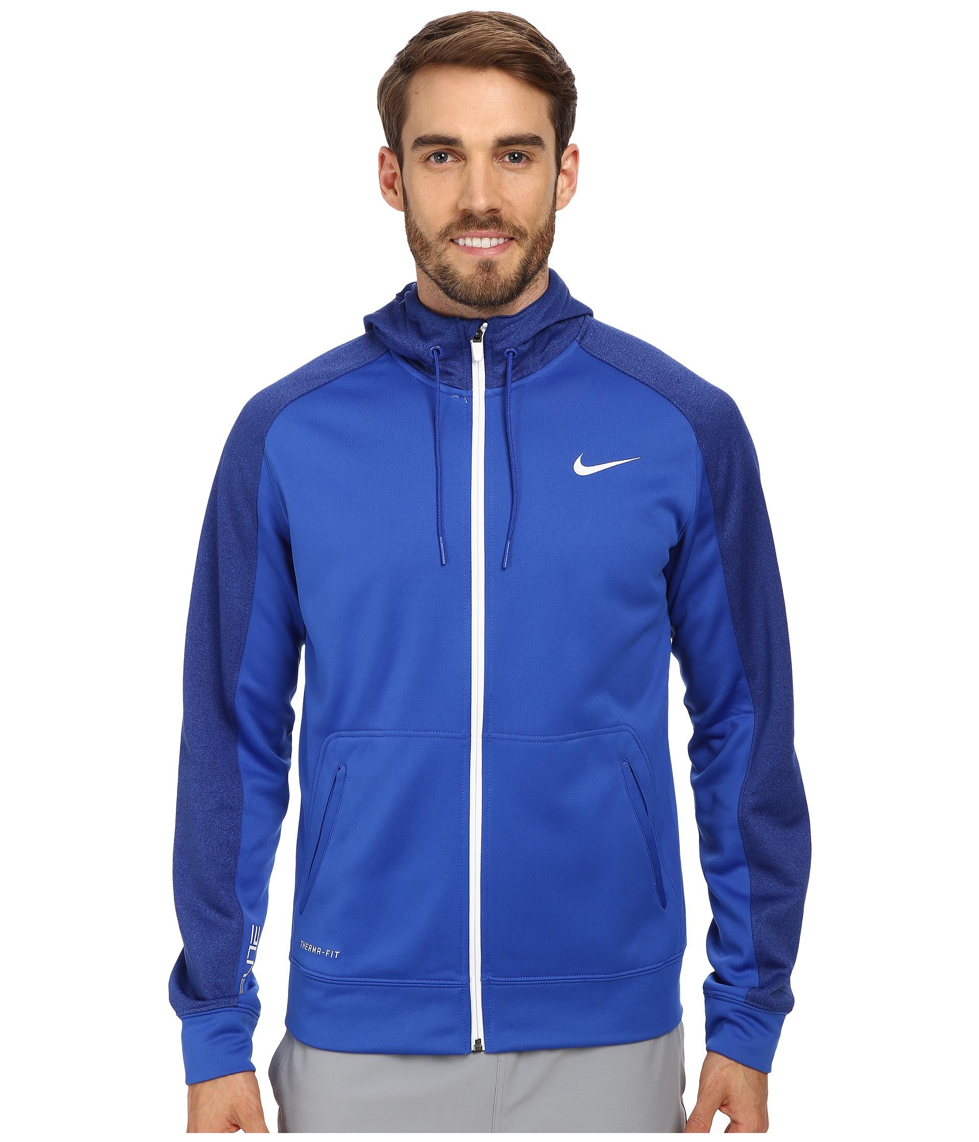 46f141ae Nike Blue Elite Stripe Full-Zip Performance Fleece Hoodie for men