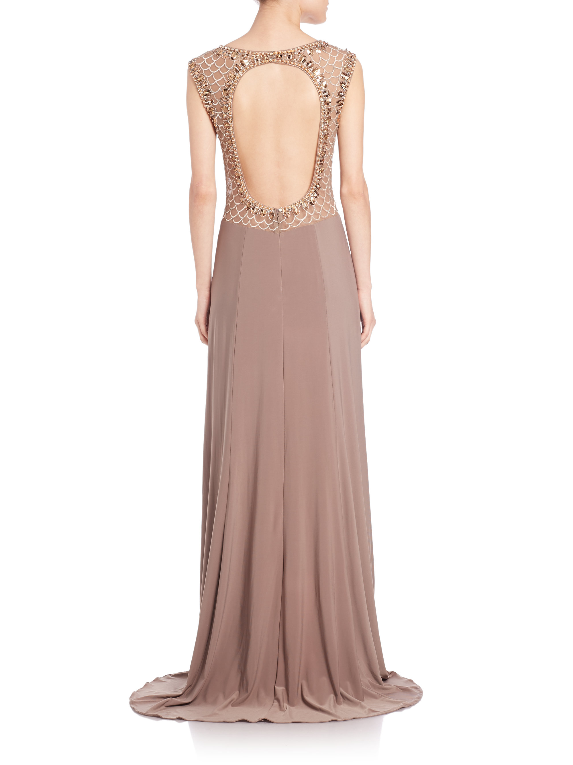 Lyst - Sue Wong Beaded Open-back Gown in Brown