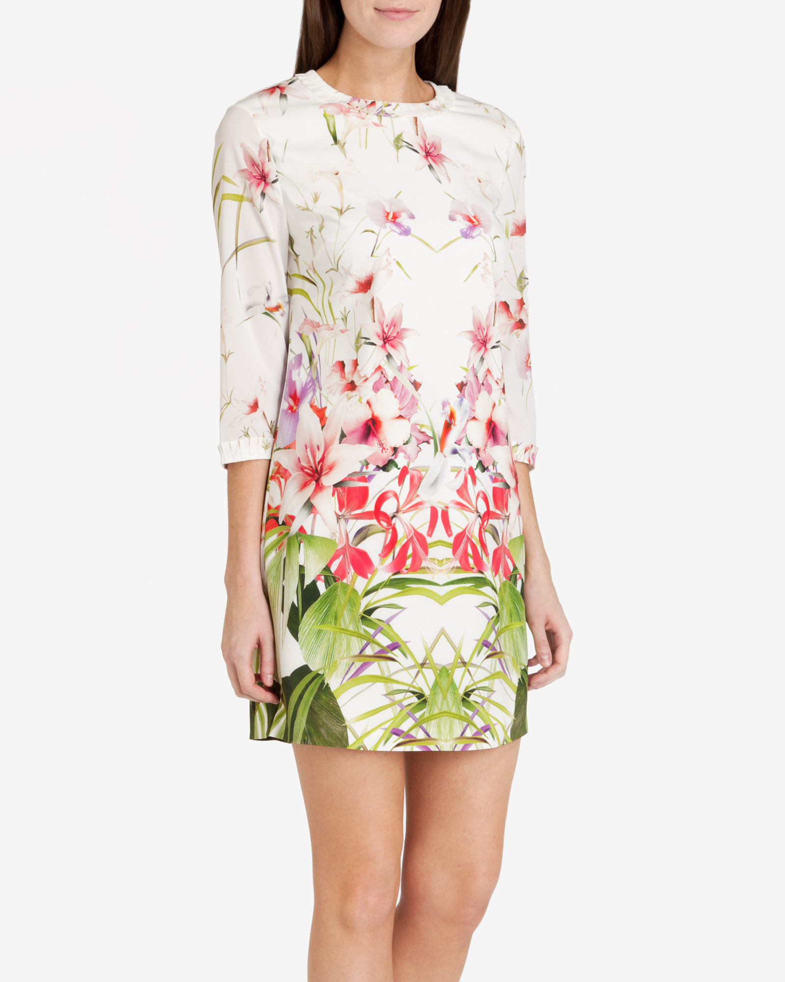 Ted baker Mirrored Tropics Tunic Dress in White | Lyst