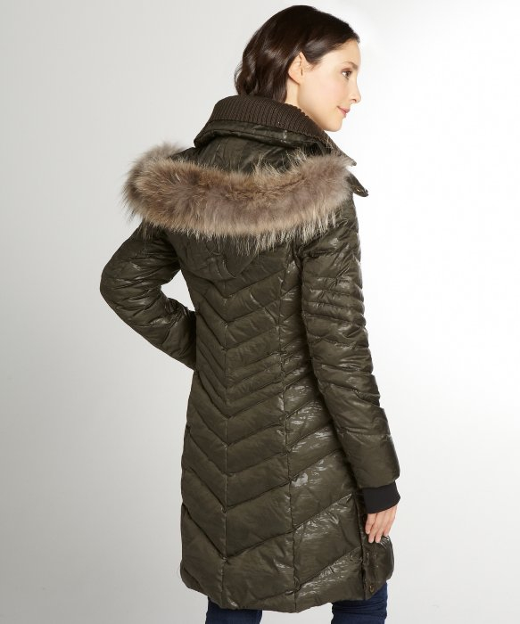 Andrew marc Olive Camouflage Hooded &39Joelle&39 Down Coat in Green | Lyst