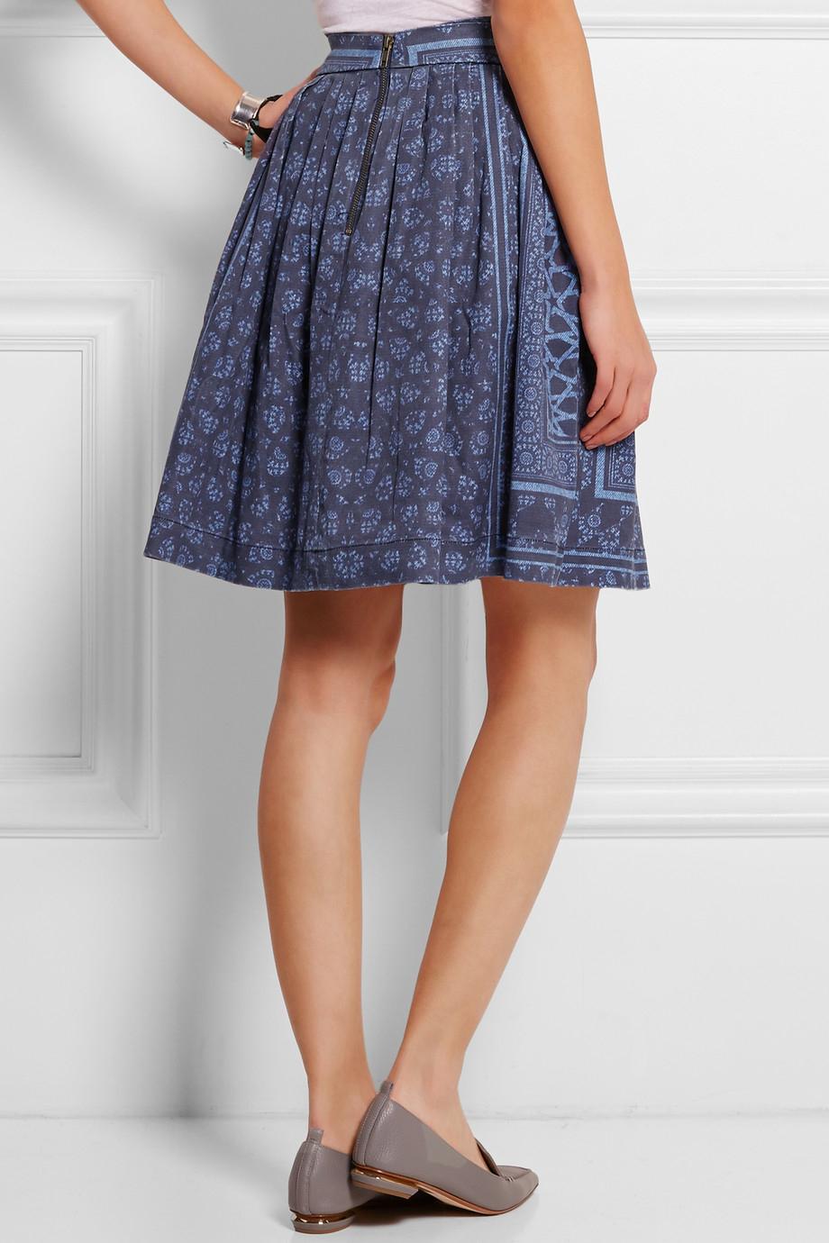 preen line jennah pleated printed denim skirt in blue lyst