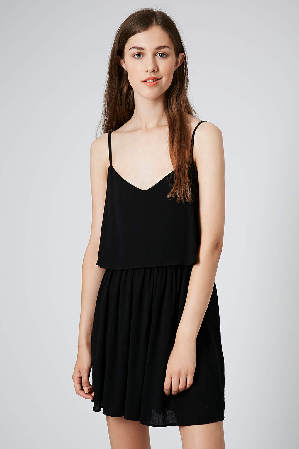 Lyst Topshop Cutout Crinkle Overlay Sundress In Black