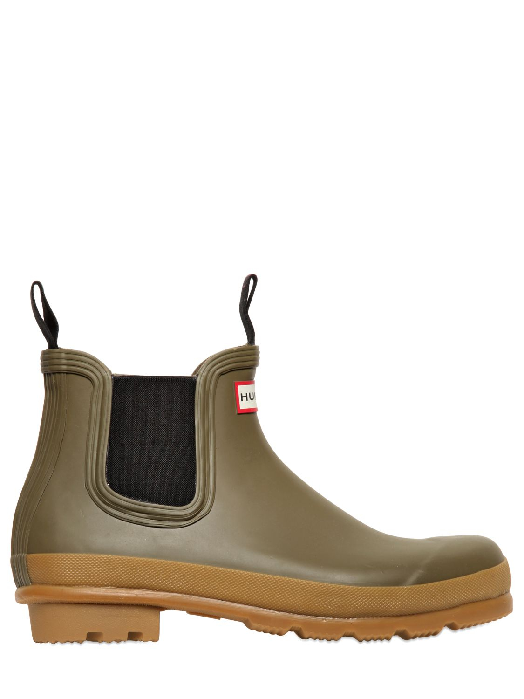 Hunter Rubber Short Rain Boots In Khaki Natural Lyst