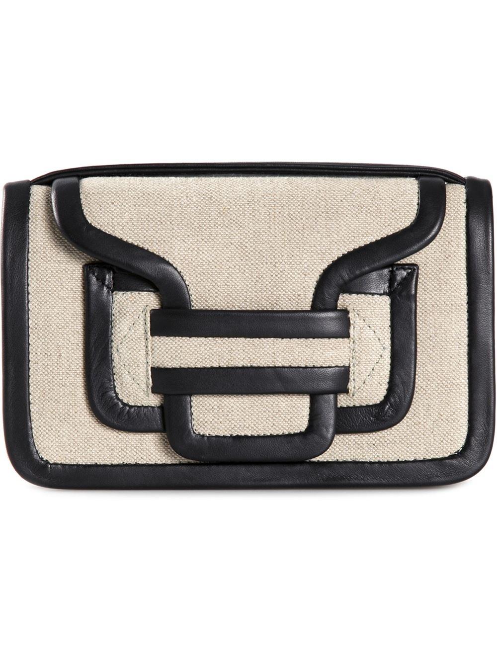 Alpha Leather And Linen Shoulder Bag