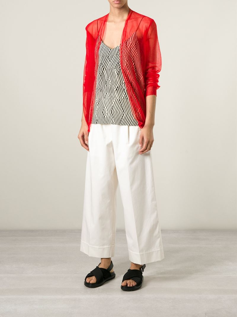 Forte forte Sheer Fine-Knit Cardigan in Red | Lyst