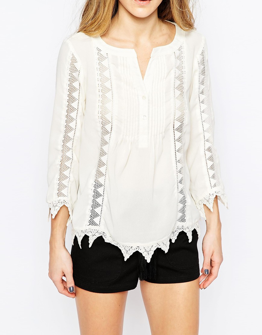 Vero Moda Boho Top With Embroidered Detail In White  Lyst