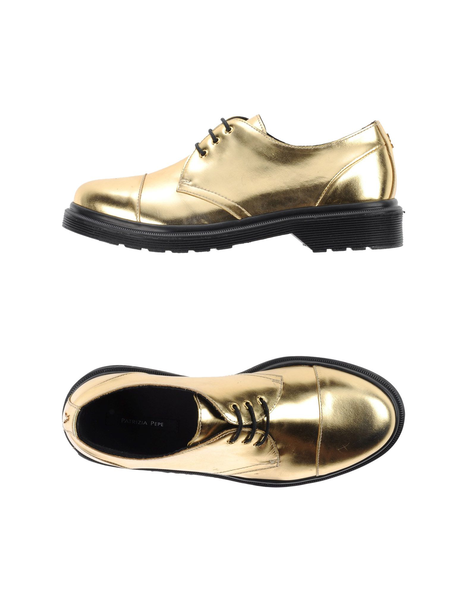 patrizia pepe lace up leather shoes in metallic for lyst