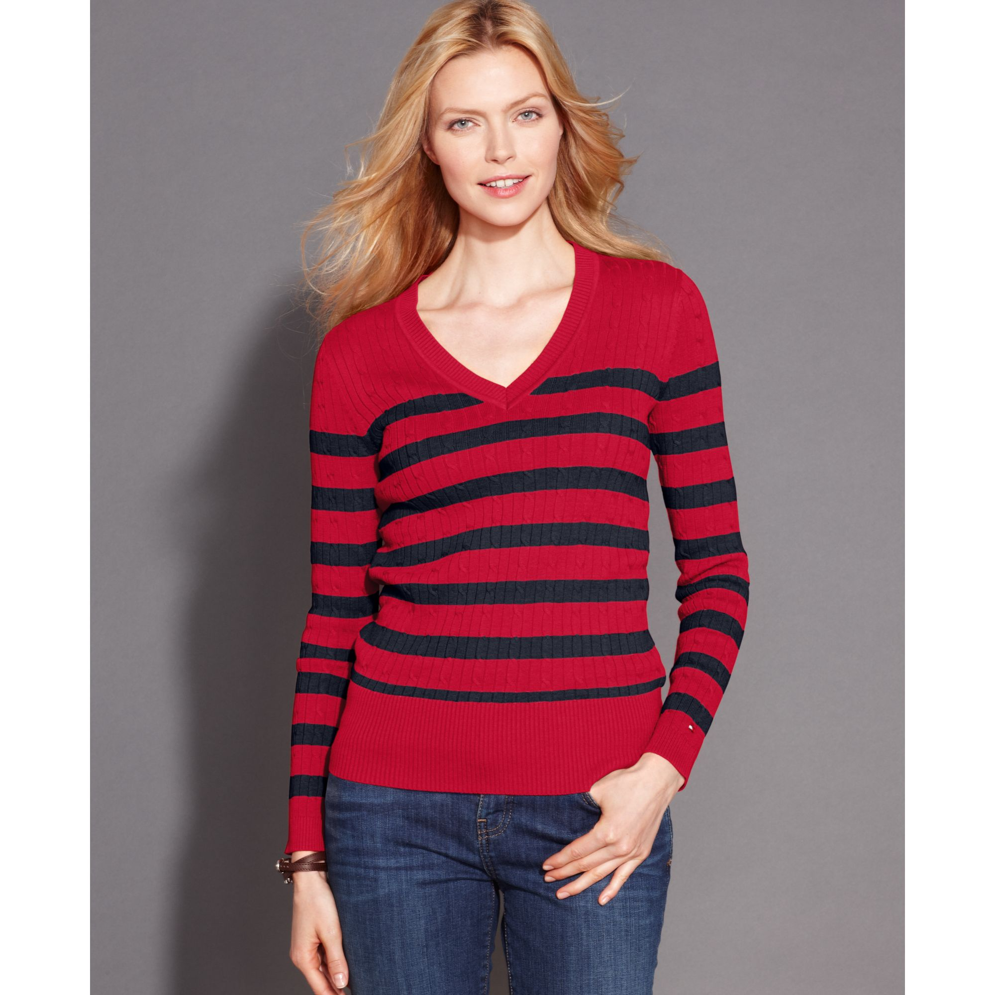 7bb69d842ff Tommy Hilfiger Red Longsleeve Striped Vneck Cableknit Sweater
