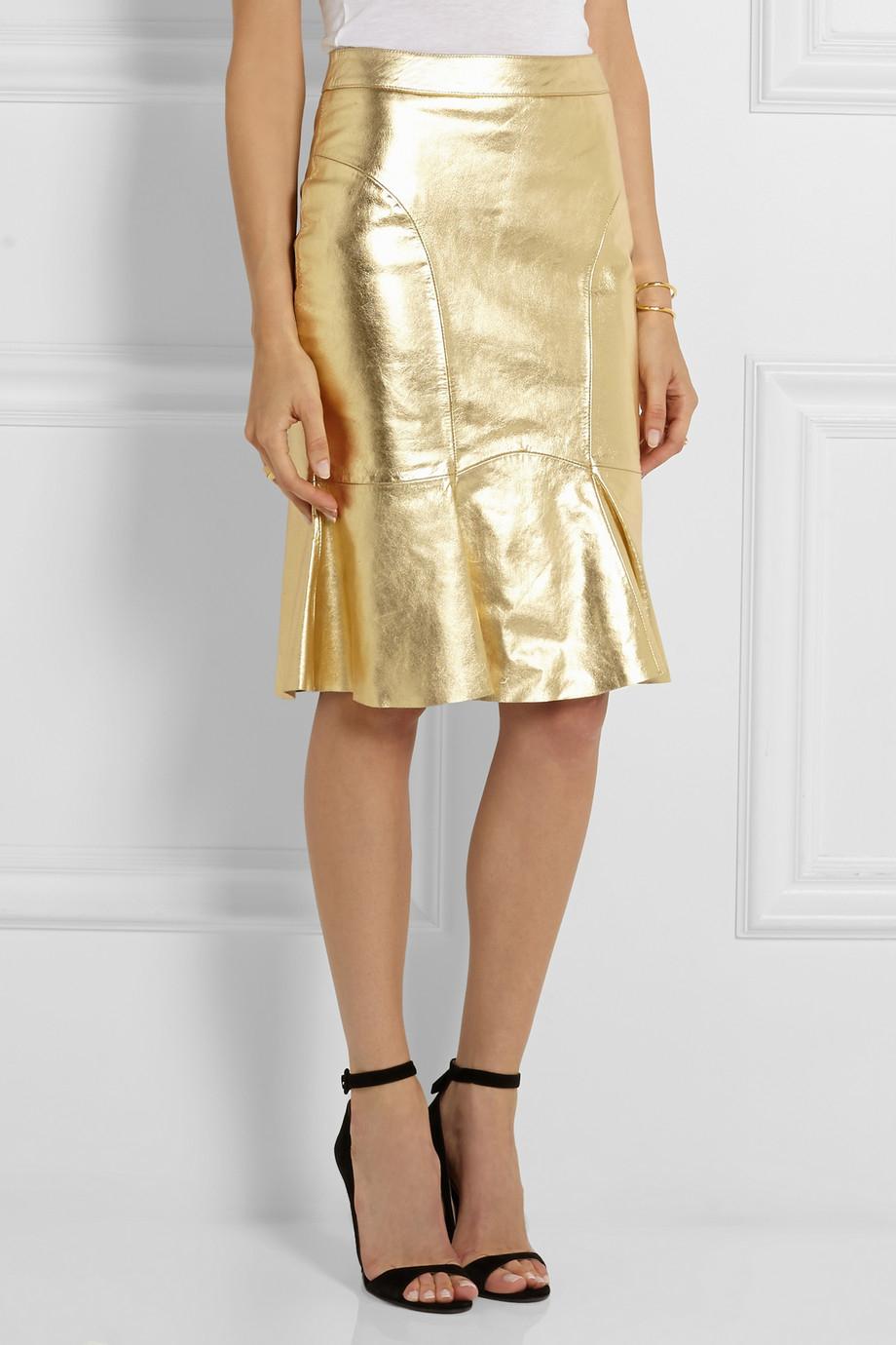 boutique moschino metallic leather skirt in metallic lyst