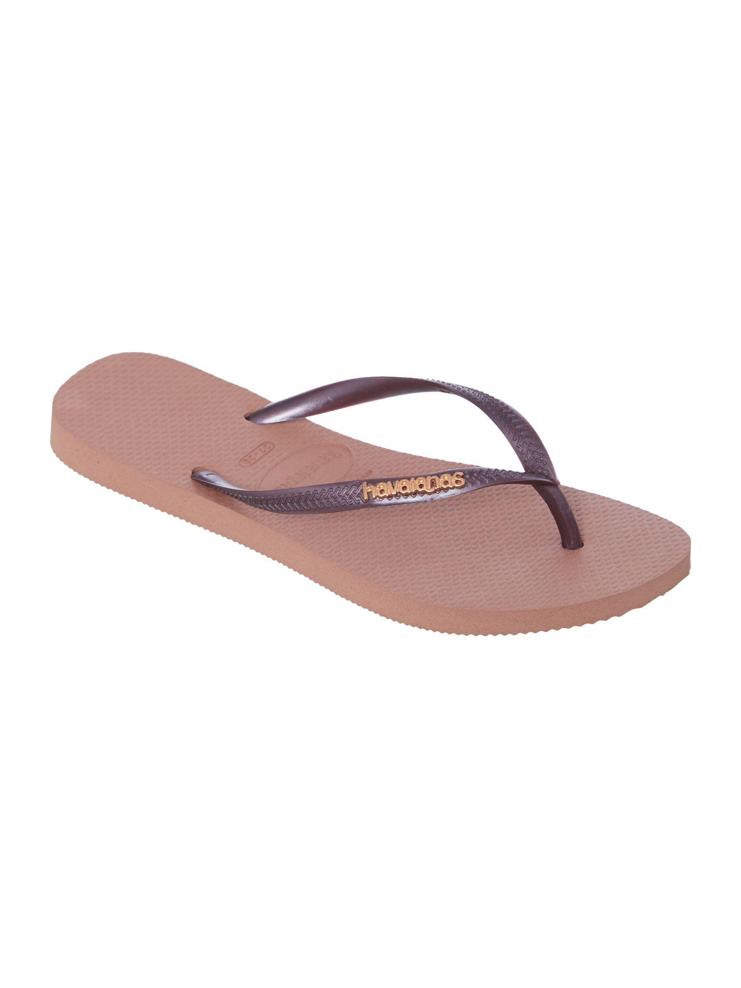 Havaianas Slim Logo Metallic Flip Flop In Pink Rose Gold  Lyst-5704
