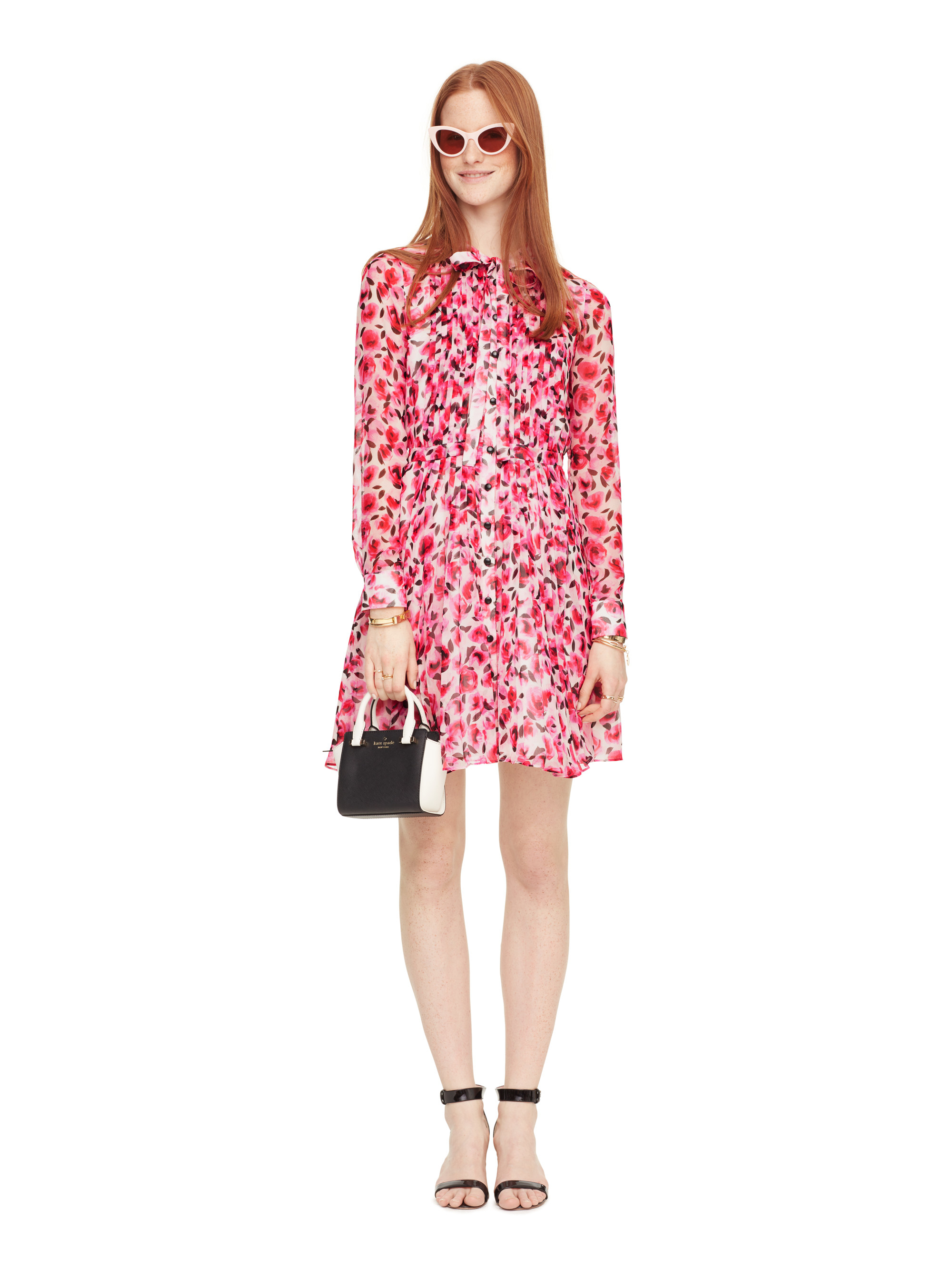 Kate Spade New York Mini Rose Pleated Shirtdress In Pink