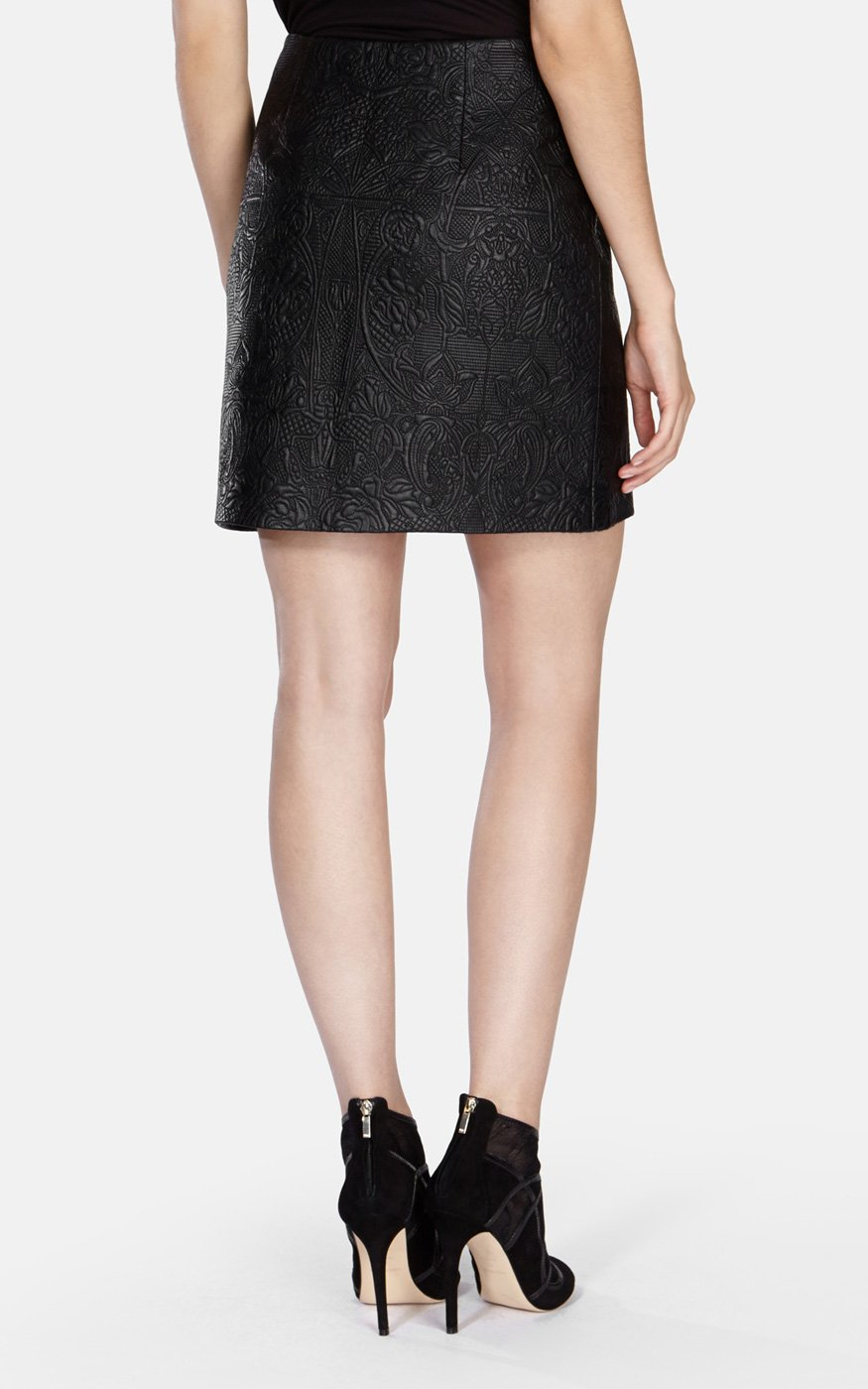 Karen millen Quilted Faux-leather Skirt in Black | Lyst