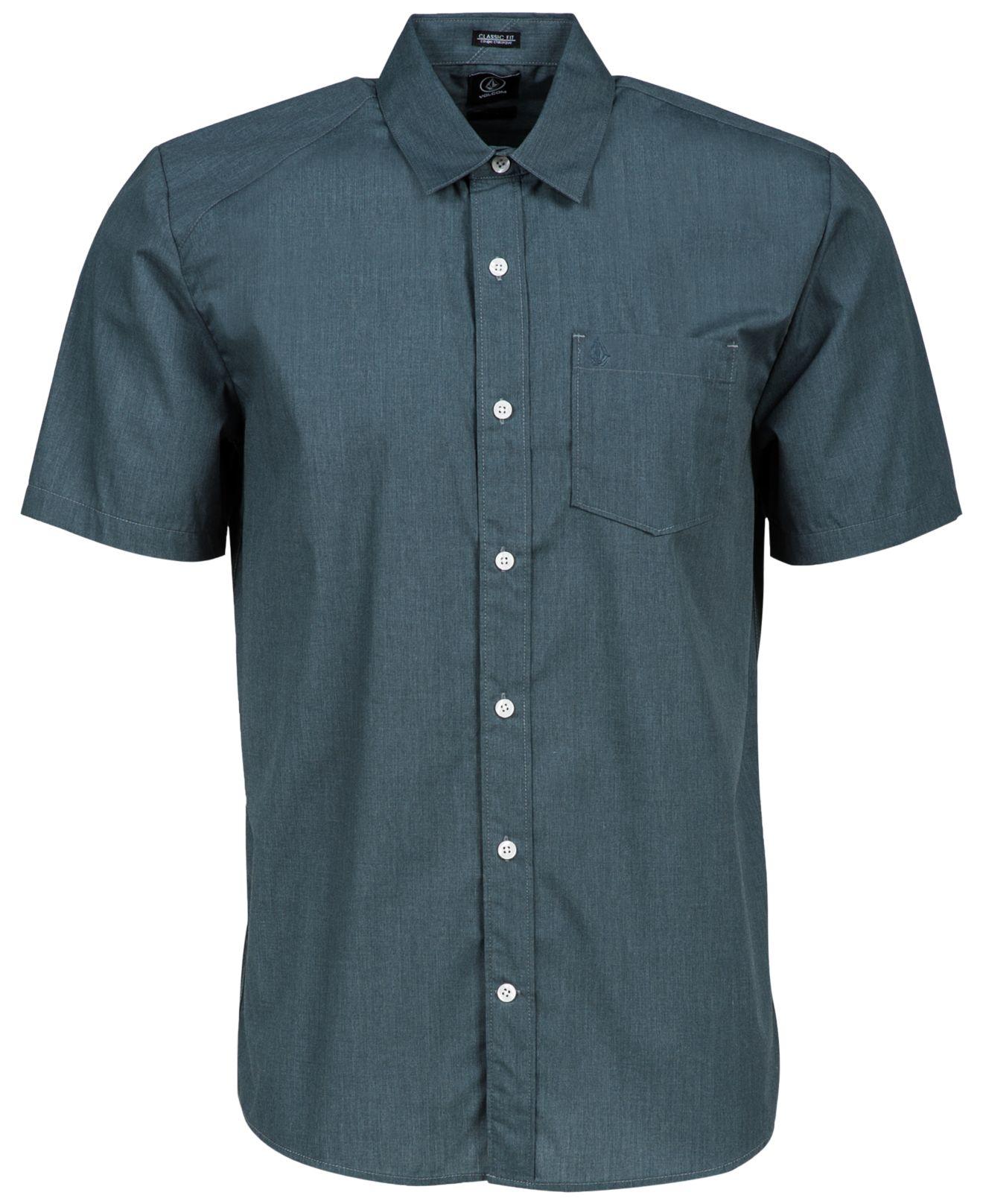 volcom men 39 s everett solid short sleeve shirt in gray for