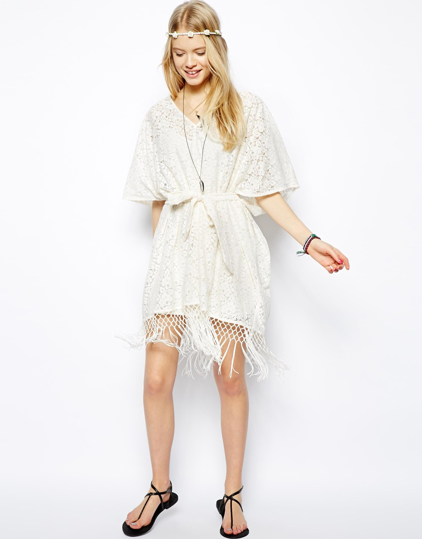 Asos Kimono Dress In Lace in White | Lyst